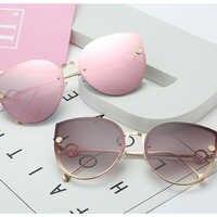 2020 New Luxury Italy Brand Design women cat eye mirror Vintage Rimless sunglasses feminine Gafas oculos Gradient ocean lens