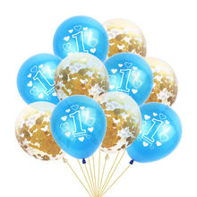 10 PCs 12 Inch Latex Balloon Blue With Clear Confetti For 1st Birthday Baby Show One Years Old Decorations Supply