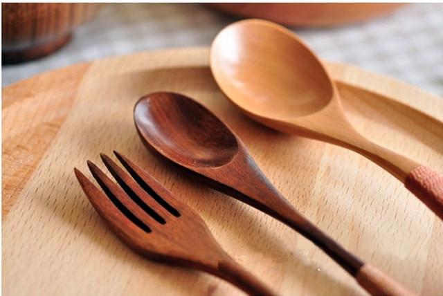Charming Zakka Natural Wooden Log Coffee Spoon Fork Eco Friendly Wood Spoon Set Kitchen  Supplies Tableware