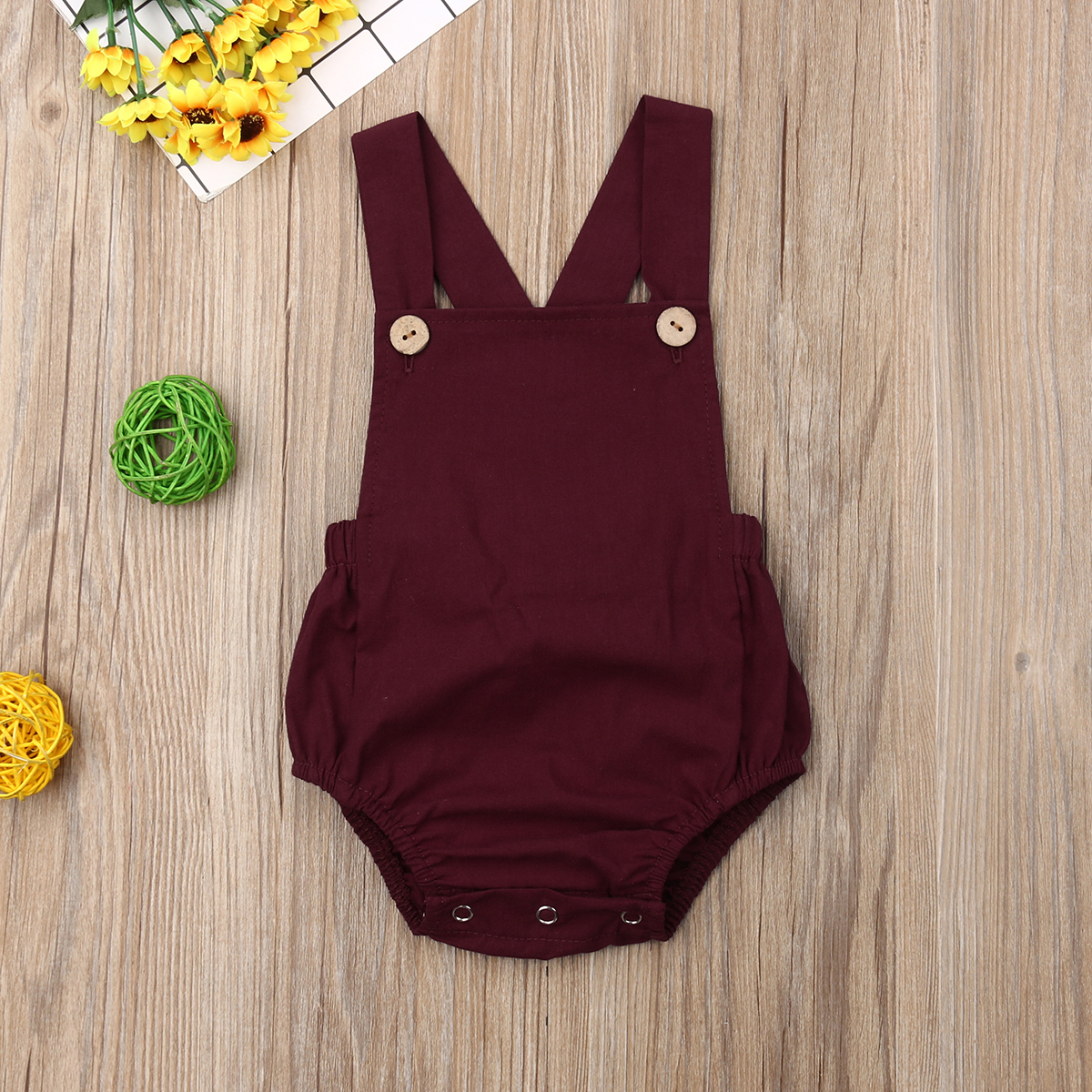 Pudcoco Newborn Baby Boy Girl Clothes Solid Color Sleeveless Button Cotton   Romper   Jumpsuit One-Piece Outfit Sunsuit Clothes