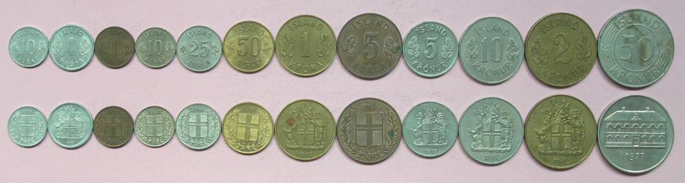 second hand 12pcs Iceland coin 100 original coin coin Not circulated cross