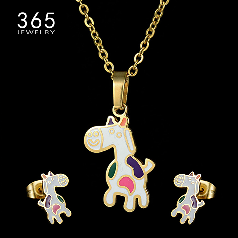 Jewelry Sets & More Cartoon Rainbow Butterfly Stainless Steel 100% Golden Plated Necklace Earrings Set 4 Patterns Child Jewelry Sets For Women Gifts Discounts Sale