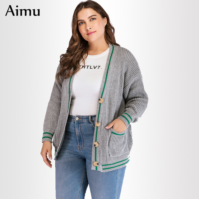 02f505c3e5a 2019 spring Women Sweater Cardigan Contrast Color Knitted Coat Long Sleeve  V-neck gray Jacket
