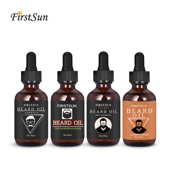 Firstsun 4pc 100% Natural Organic Mens Beard Oil Kits Styling Shaping Mustache Hair Growth Beard Styling Mustache Beard Care Set 1