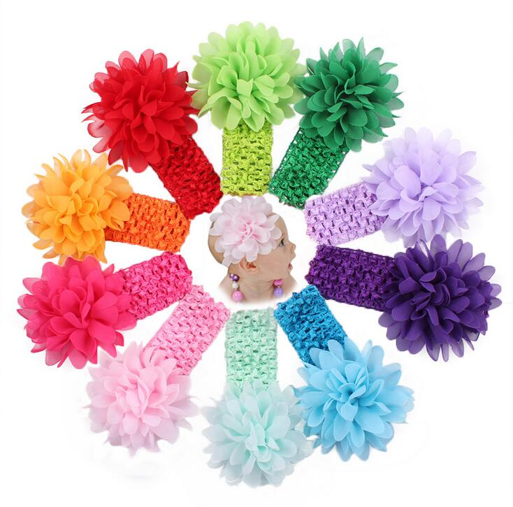 10pcs/lot Baby Girls Headband Toddlers Kids Infants Crochet Weave Hairband & Chiffon Flowers Headbands Children Hair Accessories