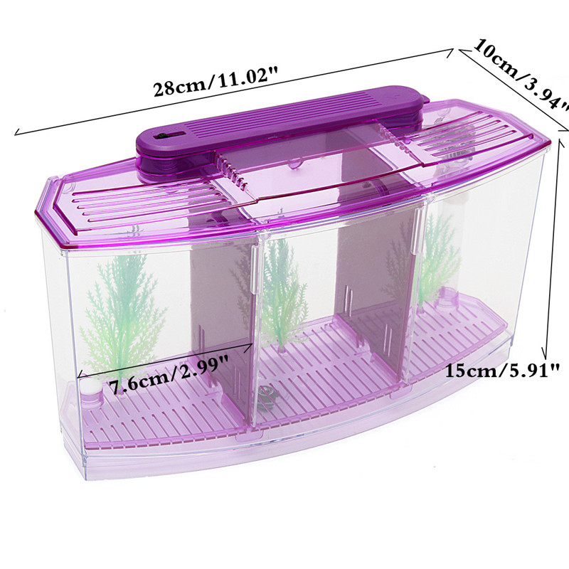 3 Cubicle Acrylic Fish Betta Guppy Tank Mini Aquarium with 2 Color Day/Night LED Light