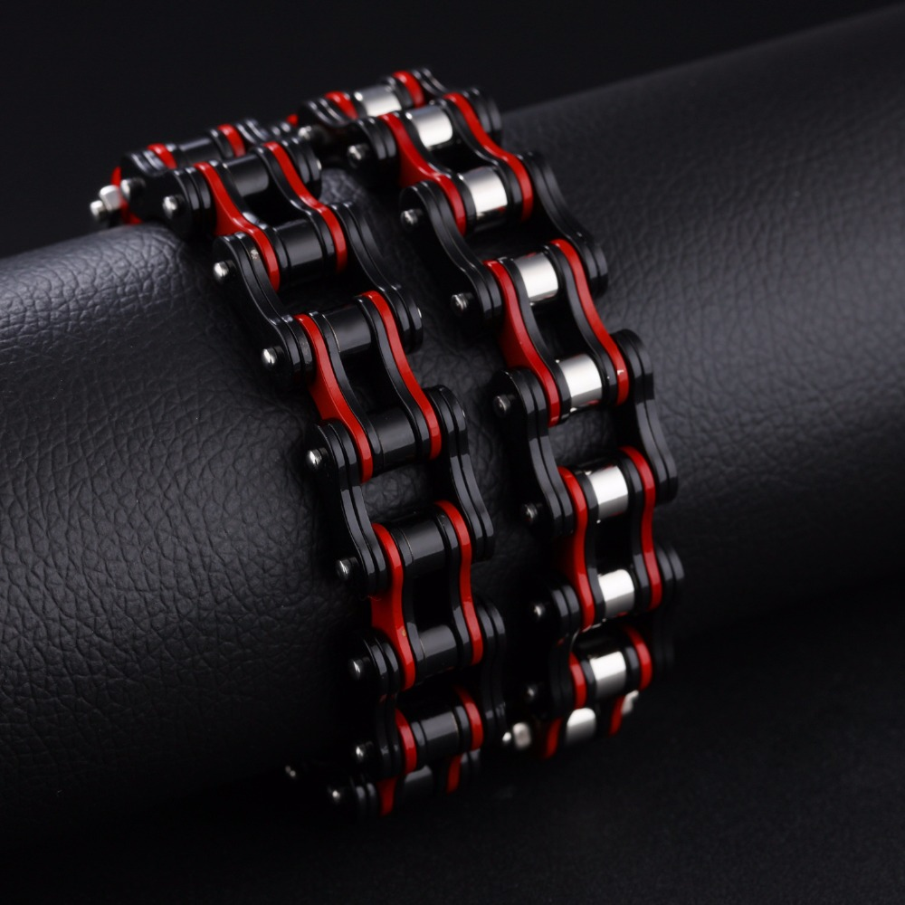 316L Stainless Steel Cool Men Biker Bicycle Motorcycle Chain Link Men's Bracelets Bangles Fashion 4 Color Casual Jewelry 7seas motocycle men bracelets bangles casual link chain stainless steel 4 color biker bicycle jewelry bracelet for man 7s781