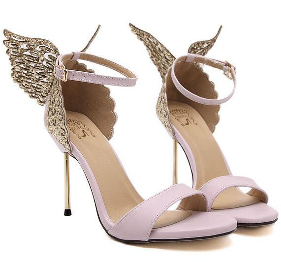 Size 49 Pink Butterfly High Heels Women Pumps Sexy Black -1640