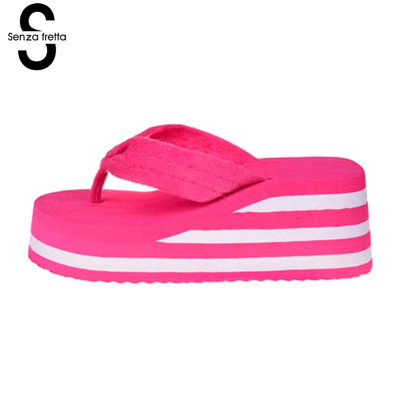 Senza Fretta Summer Women Shoes Flip Flops Beach Sandals Flip Flops Casual Slippers Women High Heel Shoes Wedges Flip Flops фоторамка senza 20х25 см хром 956444