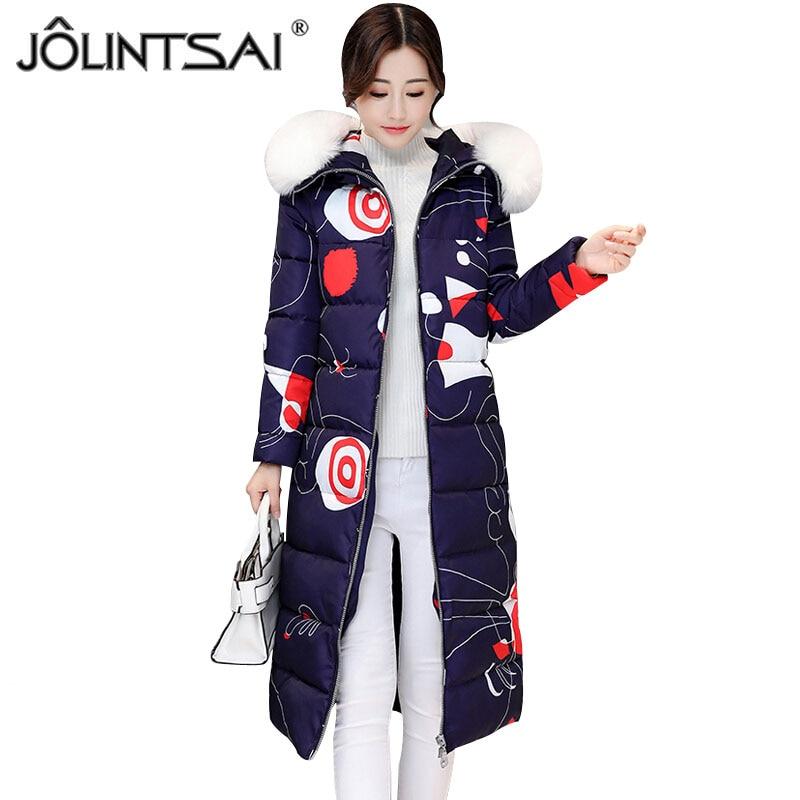 JOLINTSAI 2017 New Winter Women Coat Slim Printing Parka Fur Collar Long Warm Jacket Female Outerwear Thicken Padded Parkas