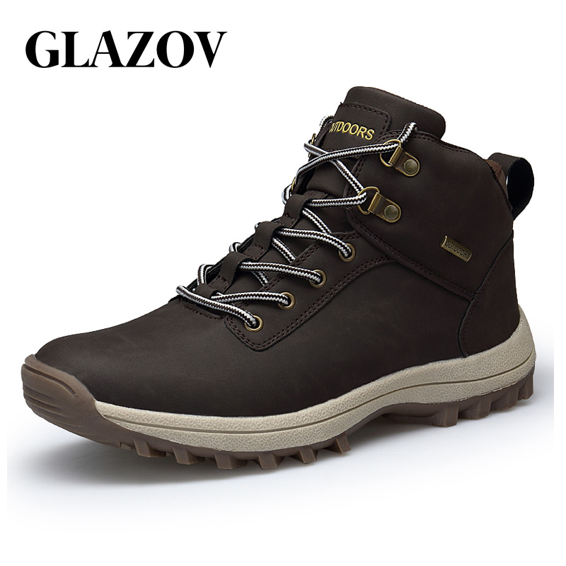 GLAZOV Boots Men Leather Sneakers Boots Warm Winter Outdoor Fashion Boots Men Lace Up Breathable Footwear Men Casual Shoes