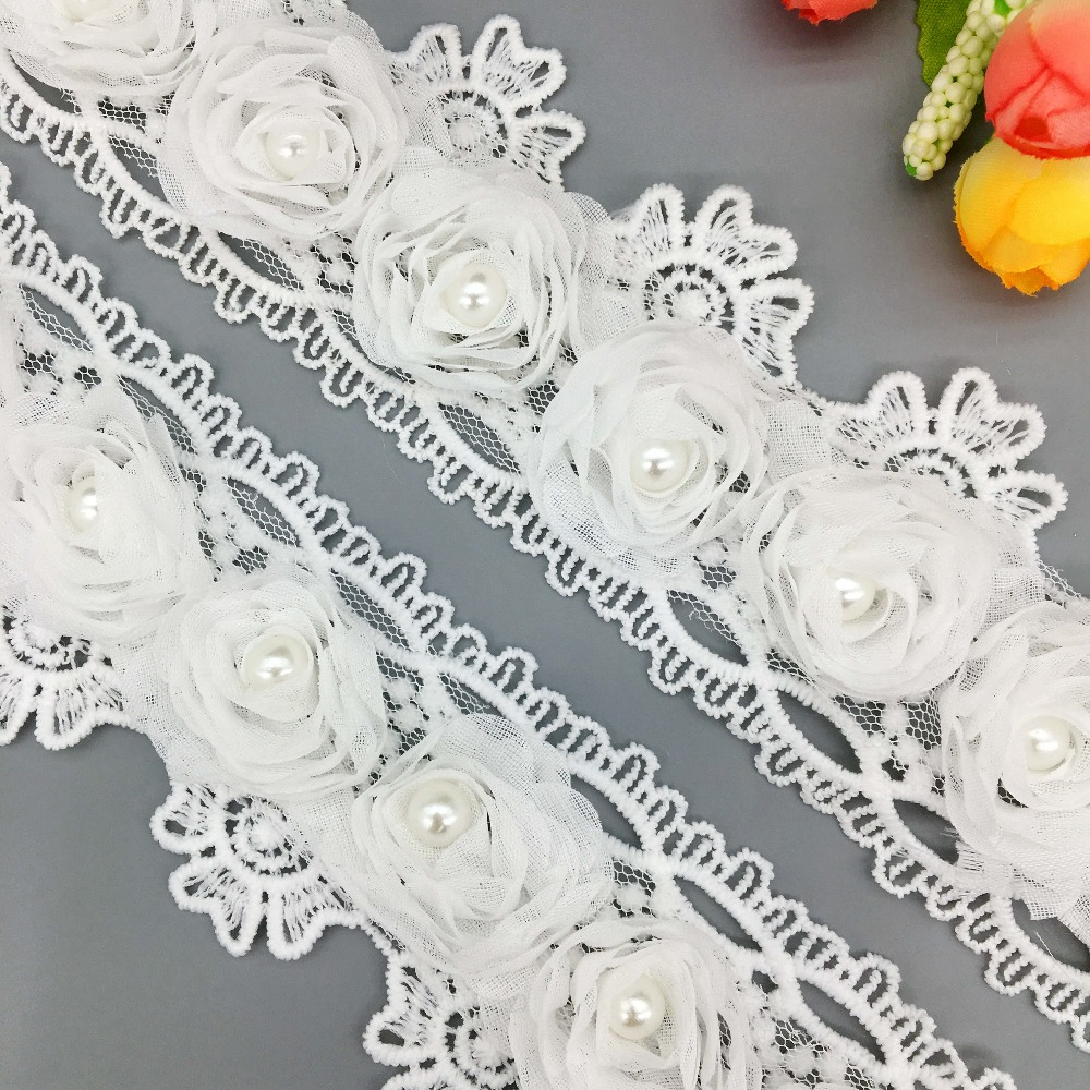 1Yd White Beaded Lace Trim Mesh Ribbon Sewing Applique for DIY Costume Craft
