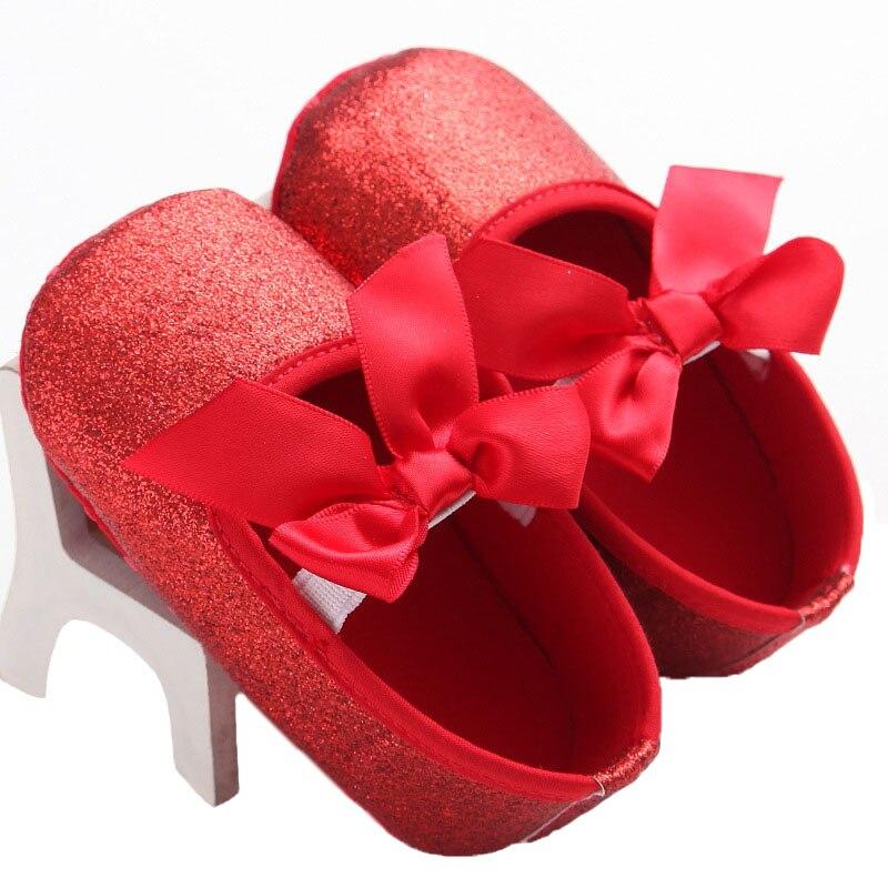 Zapatos de Bebé Del niño de Oro de Flash Arco Glitter Zapatos de Bebé Antidesliz