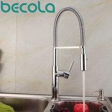 Becola Новый Дизайн Хромированная Отделка Твердый Латунный Мойки Смесители Pull Out Вниз Кухонный Кран 360 Поворотный B-9203