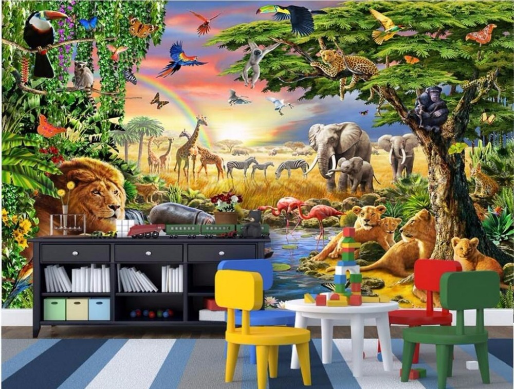 WDBH custom mural 3d wallpaper Grassland animal lion the children home decoration painting 3d wall murals wallpaper for wall 3 d love of the grassland 600g