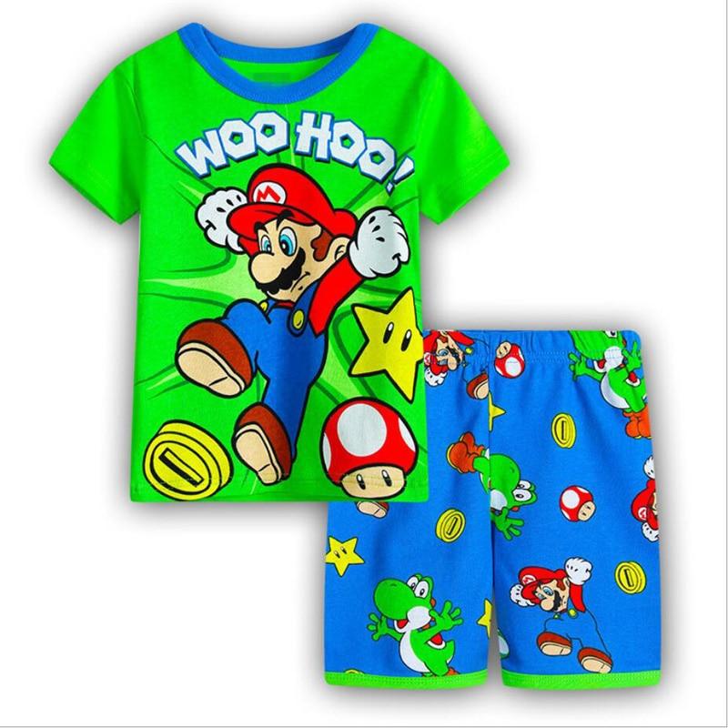 pijamas infantis para o bebe meninos 2 7years criancas dos desenhos animados pijamas criancas verao algodao