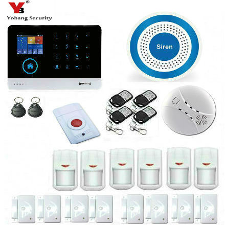 YobangSecurity Home Security Alarm System Wireless Wifi GSM GPRS WiFi Burglar Alarm House Business Auto Dial Smoke Fire Detector yobangsecurity touch keypad wireless wifi gsm home security burglar alarm system wireless siren wifi ip camera smoke detector
