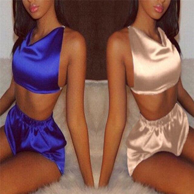 Sleeveless Satin Halter Cami And Shorts Pajama Set 2018 New Blue Champagne V Neck Sexy Set Sleepwear Summer Women Pajamas