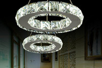 LED Transparent k9Crystal pendant lamp for Aisle Porch Hallway 20CM Crystal Ring dining light wth LED Light Bulb 8 Watt 110 220V