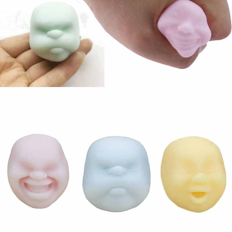 Mini Decompression Simulation Human Face Ball Squeeze Toy Slow Rising Stress Reliever Christmas New Year Gift Portable
