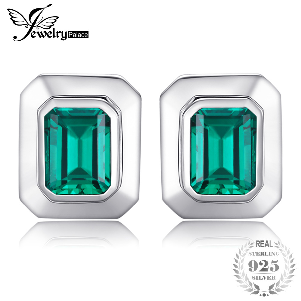 JewelryPalace 4ct Created Emerald Cufflinks 925 Sterling Sliver Luxury Brand Vintage Jewelry For Men Wedding Gift все цены