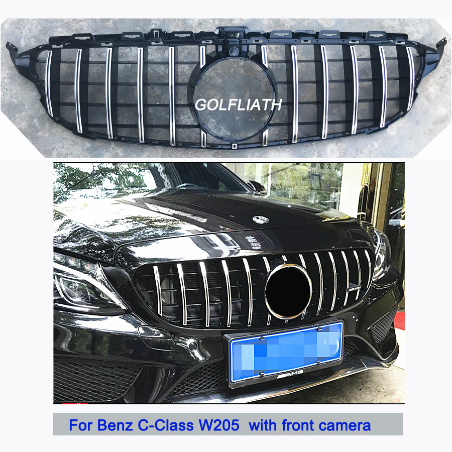 For C Class W205 AMG GT R ABS Front Bumper Mesh Grill Grille For mercedes W205 C180 C200 C260 C300 Sports 2015-2018 with camera w205 abs car side fender vent trim e amg still for benz w205 c180 c200 c300 4 door not fit for c63 amg 2015 2018