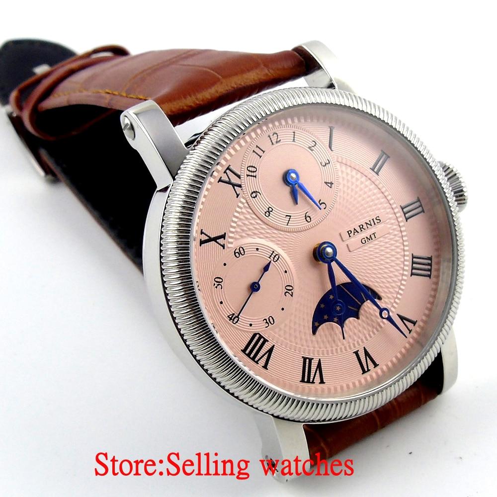 Parnis 43mm luksusowe biały Dial mechaniczny zegarków GMT skórzany pasek ręcznie nakręcany 6497 mężczyzna zegarek w Zegarki mechaniczne od Zegarki na  Grupa 3
