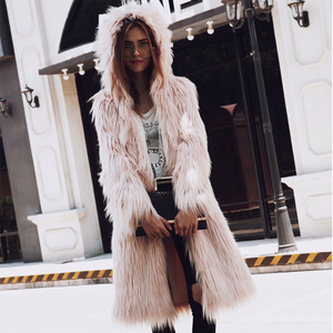 Image 3 - Hairy Long Style Faux Fur Coat Winter Fluffy Thicken Warmer Hoodie Hooded Coat Chic Outerwear Overcoat Trenchcoats