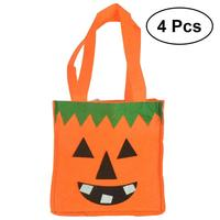 4pcs Halloween Candies Party Favors Biscuits Bags Non woven Fabric Portable Tote Bags Gift Bags for Kids Festival Celebration
