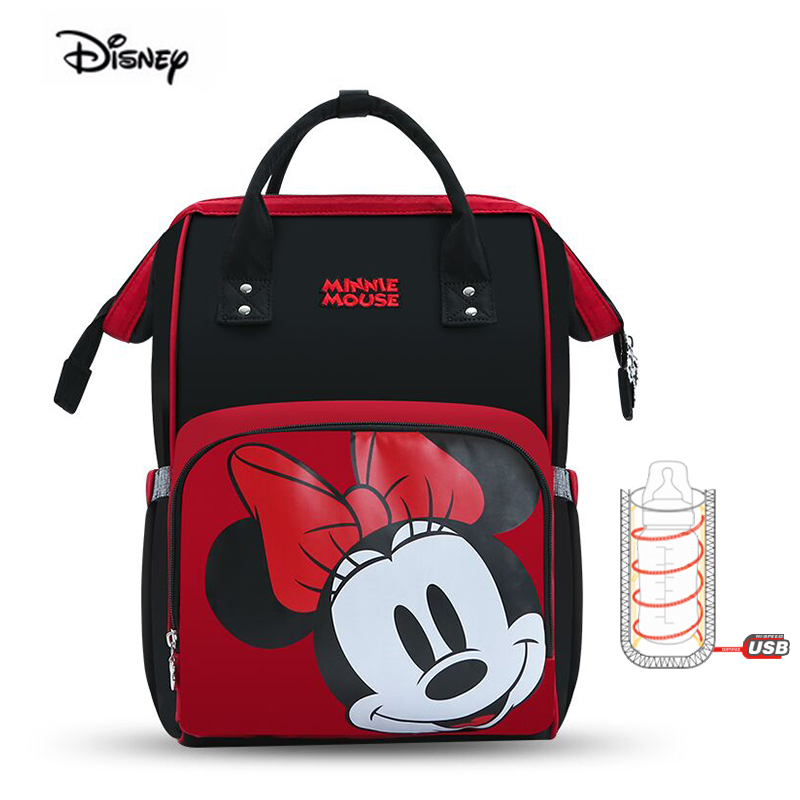Disney 2019 Mother Bag Women Multi-Function Nappy Baby USB Bottle Insulation Maternity Bag Large Capacity Diaper Backpack Red