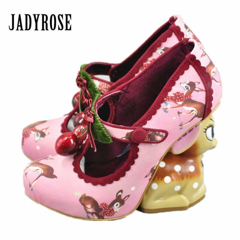 Jady Rose Deer Heel Design Women Pumps Pinting Cute High Heels Mary Janes Platform Shoes Woman