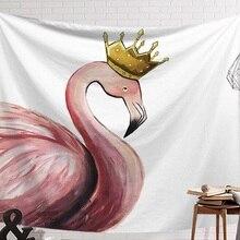 CAMMITEVER Розовый фламинго носить корону стены тканью гобелен Свадебная вечеринка подарок покрывало пляжные Полотенца йога коврик для пикника