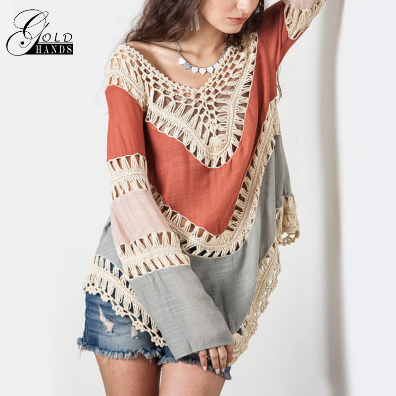 Summer Women Clothing Crochet Hook Knit Blouse V-Neck Hollow Loose Blouse Bohemian Beach Bikinis Overall Shirts Women Boho Tops