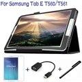4 в 1 Мода Высокое Качество PU Кожаный Чехол для Samsung Galaxy Tab 9.6 T560 T561 Tablet Case + Screen Protector + OTG + Стилус ручка