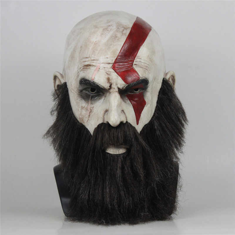 Takerlama Gioco God of War 4 Maschera con la Barba Cosplay Kratos Horror Maschere In Lattice di Halloween Spaventoso Puntelli Del Partito DropShipping