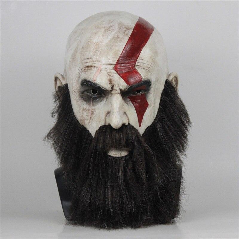 Игра «Бог войны 4», маска с бородой, косплей, Кратос, ужасы, латексные маски, шлем, Хэллоуин, страшная вечерние ринка, реквизит, Прямая поставка|Аксессуары для костюмов| | АлиЭкспресс