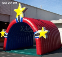 Customized outdoor football tunnel inflatable run through entrance team tunnel stage tent with stars for sport events