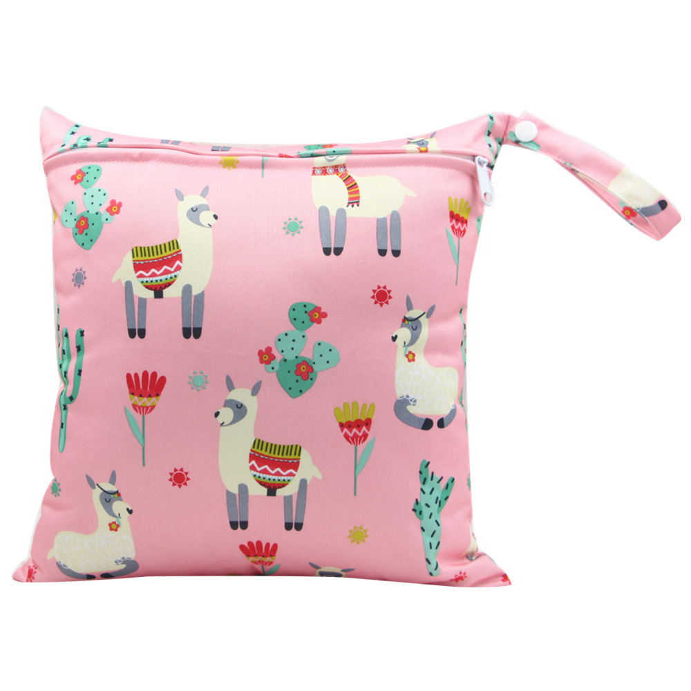 HTB1ailtacfrK1Rjy1Xdq6yemFXaW Cute Cartoon Striped Baby Diaper Bag Waterproof Travel Maternity Small Wet Bags for Mommy Storage Stroller Accessories 28*30cm
