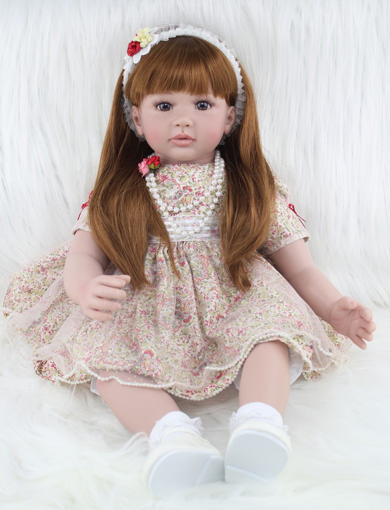 60cm Silicone Reborn Babies Dolls Toy Like Real Vinyl Princess Girl Toddler Doll Child Christmas Gifts Alive Baby Girls Brinqued