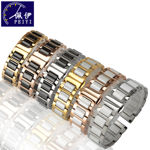 Image 1 - PEIYI Pearl Ceramic Steel Strap 16mm18mm20mm22mm metal wristband deployment buckle high quality
