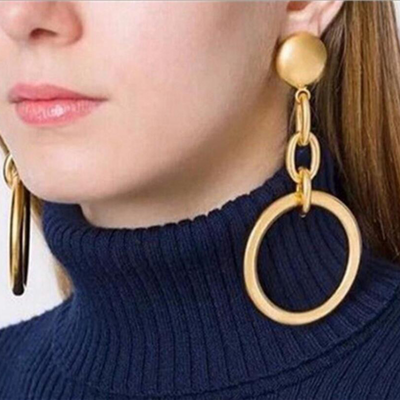 RscvonM Big Round Earrings Basketball Wives Trendy Gold ...