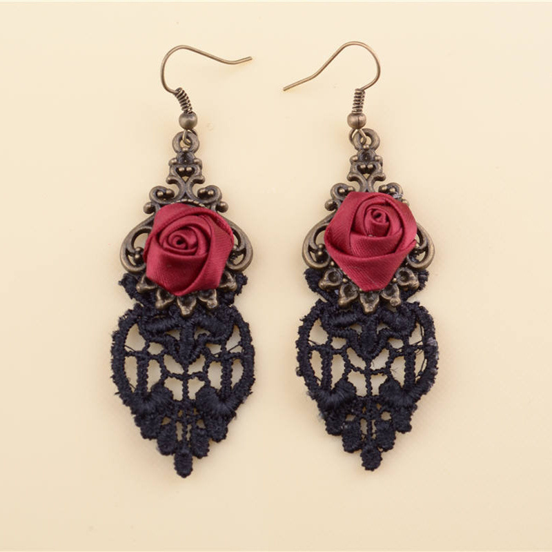 Gothic Rose Drop Earrings Flower Lace Tassel Earring Women Antique Bronze Hollow Dangle Statement font b