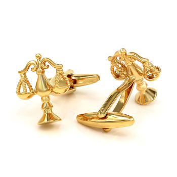 Kemstone Libra Scales of Justice Gold-color Cufflinks Button