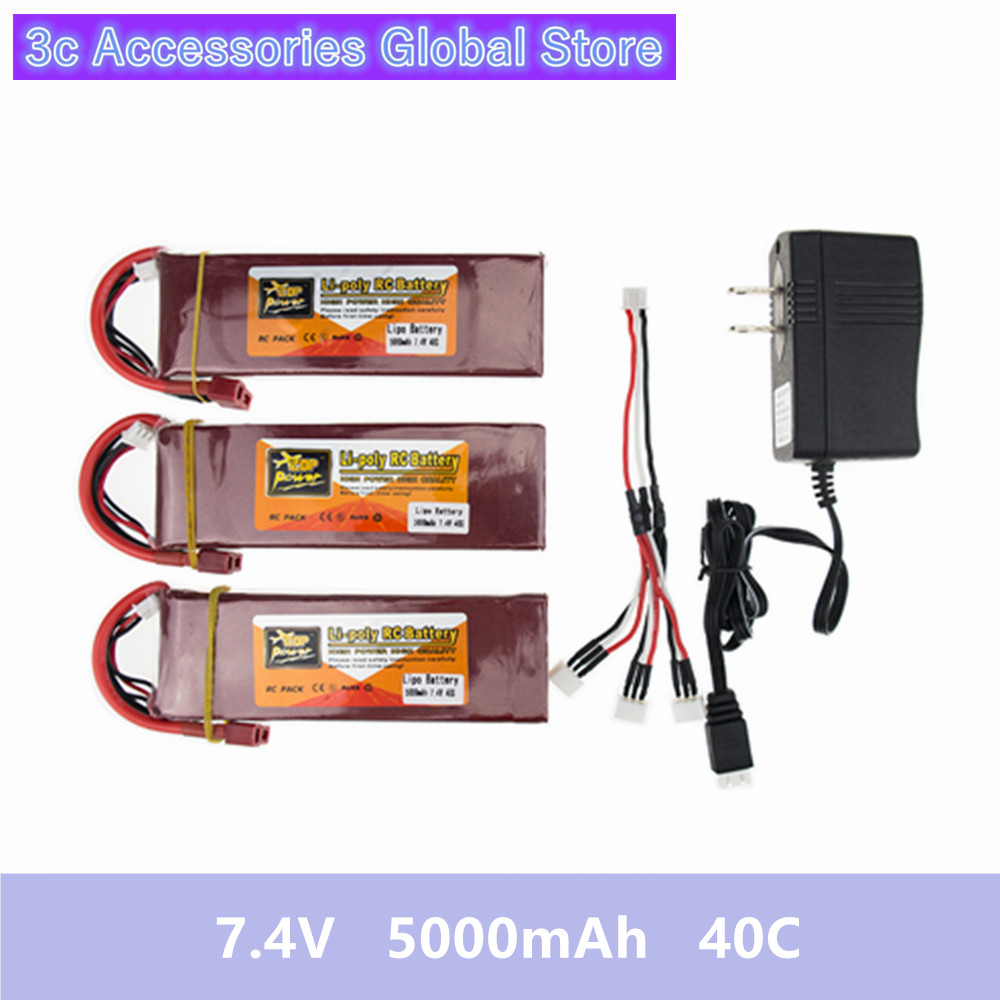3X RC Drone Batteria 5000mah Lipo 7.4 V Battery 40C XT60 T Plug With Fast Charger 3in1 Cable Set For RC Quadcopter Helicopters