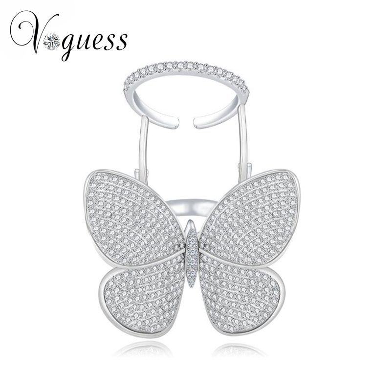 VOGUESS Lovely Ladies Butterfly Ring White Gold Plated Crystal Rings For Women