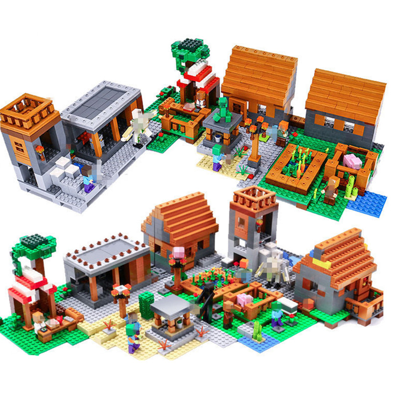 1673pcs Model Minecrafted My World Series Village Building Blocks Bricks Compatible legoingly playmobil 21128 Toys for children