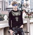 FanZhuan Free Shipping New Fashion Men's 2017 spring male casual Flower crown embroidery slim black hoodies 715013 Sweatshirts