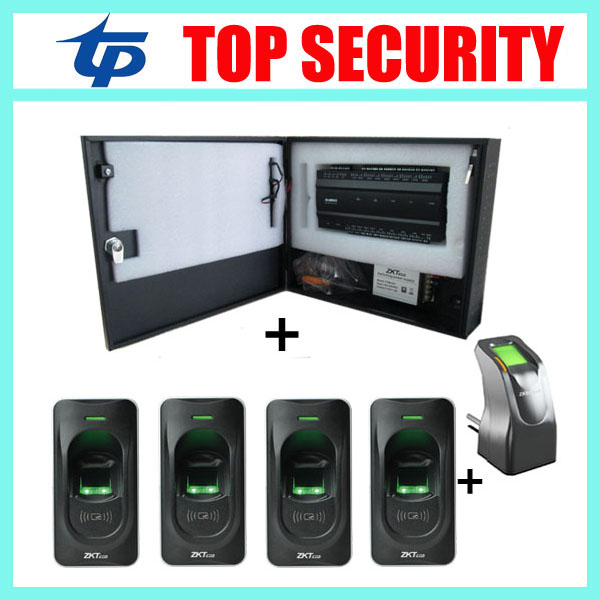 TCP/IP 3000 fingerprint access control panel with power supply and pretect box and 4pcs fingerprint reader biometric fingerprint access controller tcp ip fingerprint door access control reader