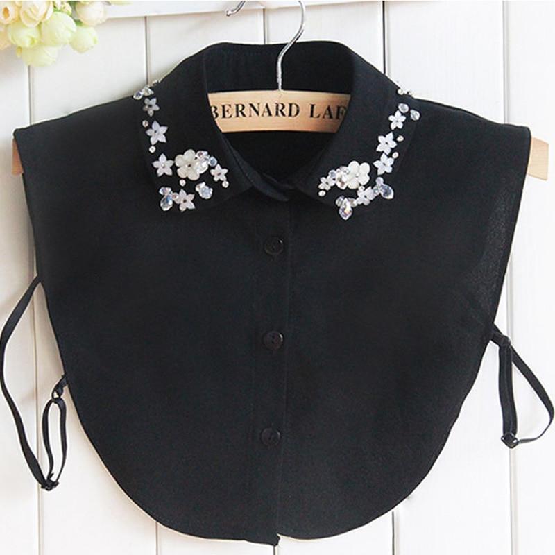 2017 zimní košile límec ženské bavlněné falešné límec košile ženy ručně vyráběné korálky orchidej falešné límec křišťálové tričko korejština
