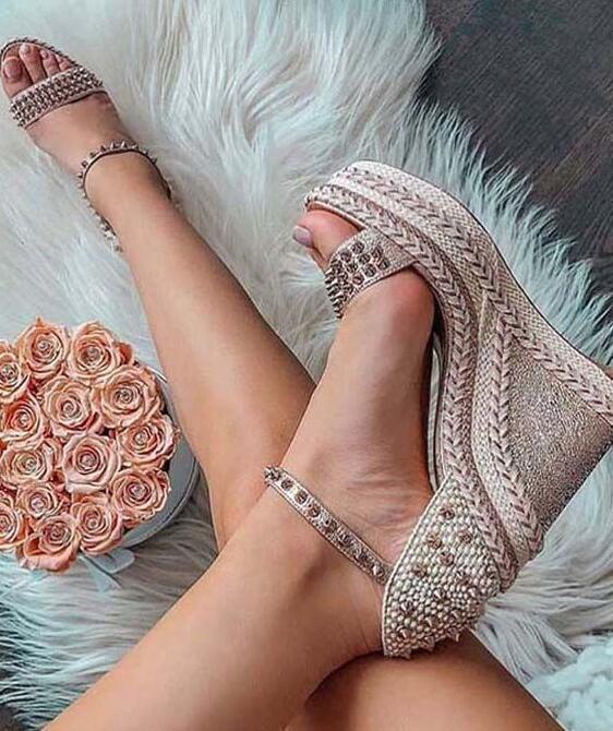 Fashion Women Wedge Sandals Braided Rivets Wrapped High Platform Heels Strappy Wedding Dress Shoes Bride